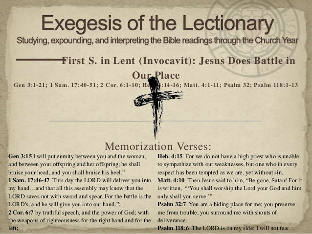 — — S. in Lent (Invocavit): Jesus Does Battle in    — First                                                  Our Place  Ge...
