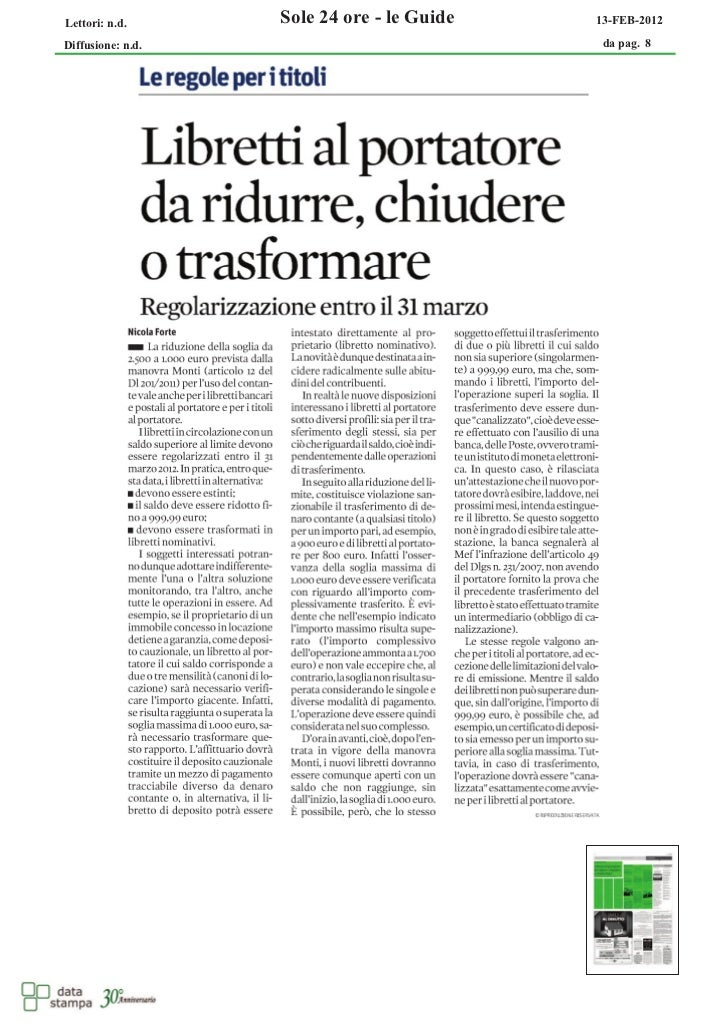 Lettori: n.d.      Sole 24 ore - le Guide   13-FEB-2012Diffusione: n.d.                             da pag. 8
