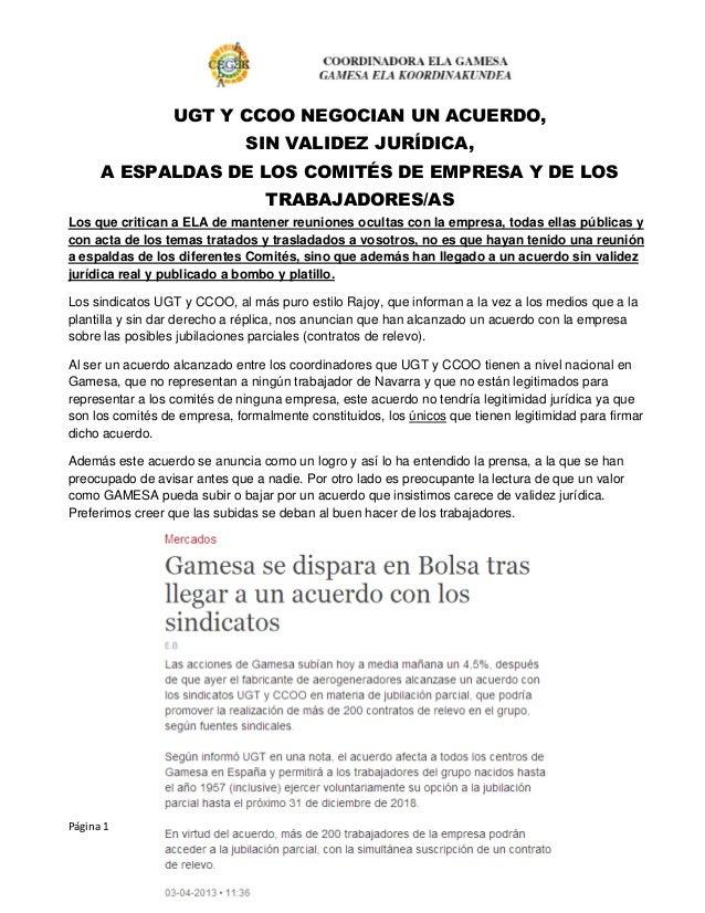 UGT Y CCOO NEGOCIAN UN ACUERDO,                              SIN VALIDEZ JURÍDICA,      A ESPALDAS DE LOS COMITÉS DE EMPRE...