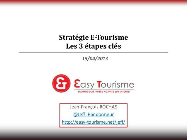 Stratégie E-Tourisme  Les 3 étapes clés         15/04/2013    Jean-François ROCHAS      @Jeff_Randonneurhttp://easy-touris...