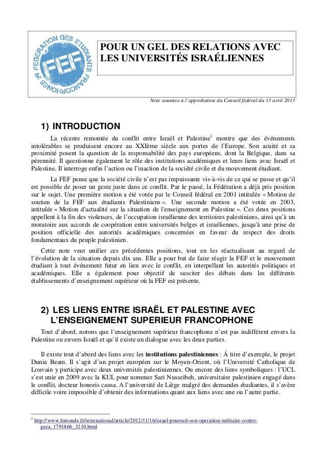 POUR UN GEL DES RELATIONS AVECLES UNIVERSITÉS ISRAÉLIENNESNote soumise à l'approbation du Conseil fédéral du 13 avril 2013...