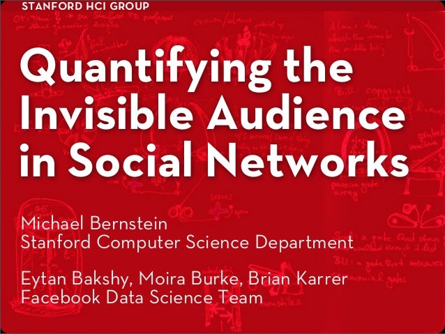 stanford hci groupQuantifying theInvisible Audiencein Social NetworksEytan Bakshy, Moira Burke, Brian KarrerFacebook Data ...