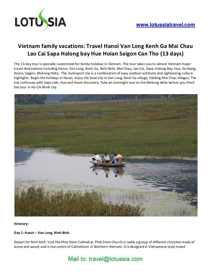 www.lotussiatravel.com  Vietnam family vacations: Travel Hanoi Van Long Kenh Ga Mai Chau     Lao Cai Sapa Halong bay Hue H...