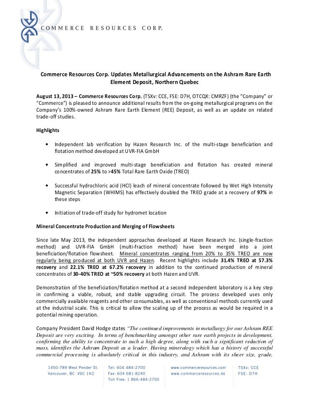 CW5438820.1 Commerce Resources Corp. Updates Metallurgical Advancements on the Ashram Rare Earth Element Deposit, Northern...
