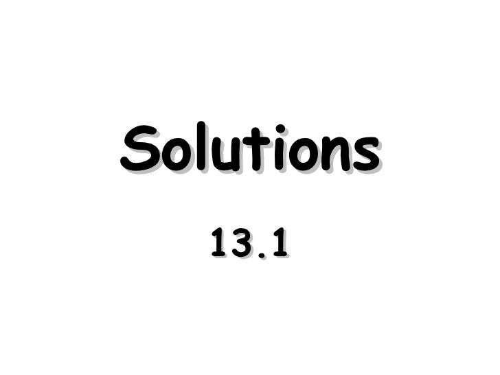 Solutions 13.1