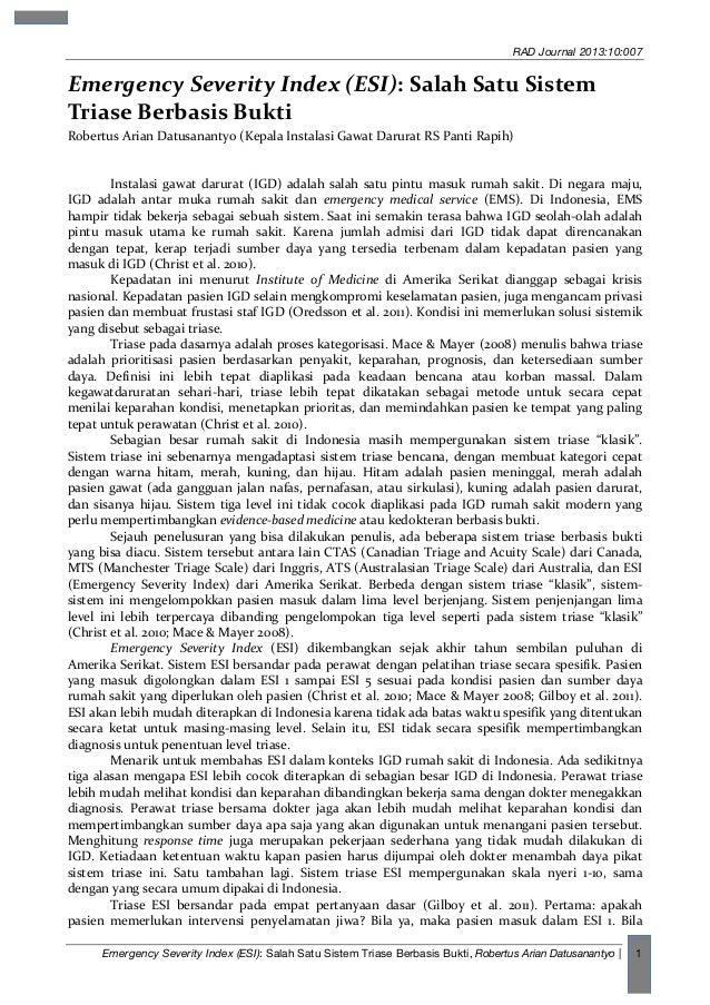 RAD Journal 2013:10:007  Emergency  Severity  Index  (ESI):  Salah  Satu  Sistem   Triase  Berbasis  Buk...