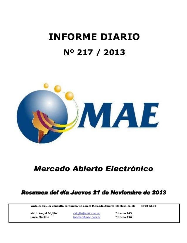 INFORME DIARIO Nº 217 / 2013  Mercado Abierto Electrónico Resumen del día Jueves 21 de Noviembre de 2013 Ante cualquier co...