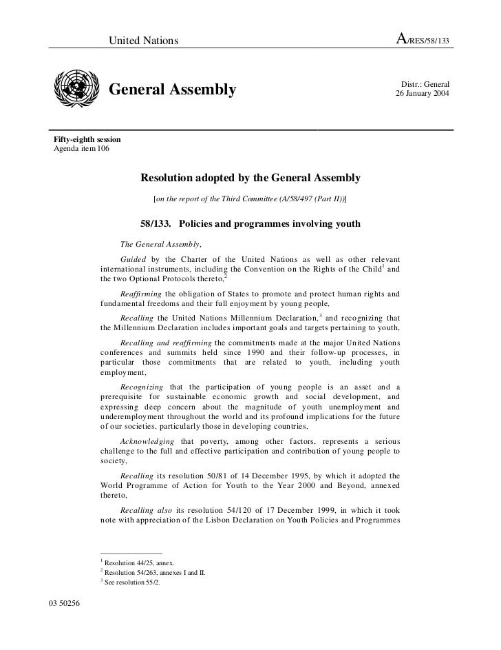 2003 - General Assembly resolution on Policies and Programmes Involving Youth (A/RES/58/133)