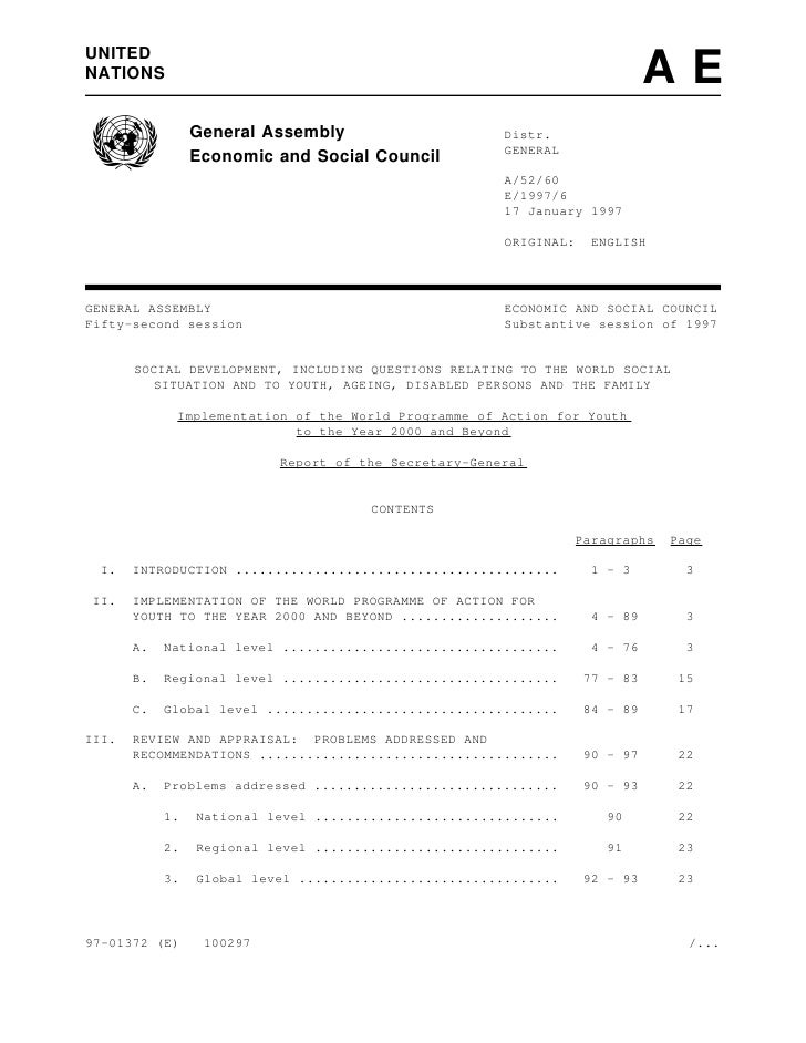 1997 - Implementation of the World Programme of Action for Youth to the Year 2000 and Beyond (A/52/60 - E/1997/6)