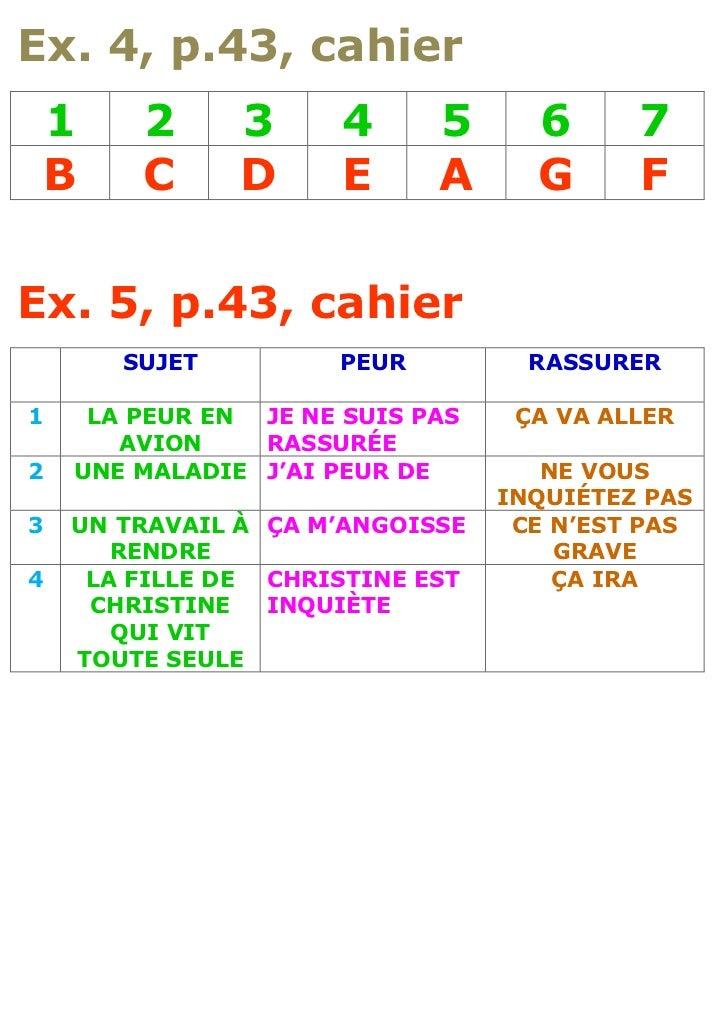 Ex. 4, p.43, cahier    1    2      3     4     5      6      7    B    C      D     E     A      G      FEx. 5, p.43, cahi...