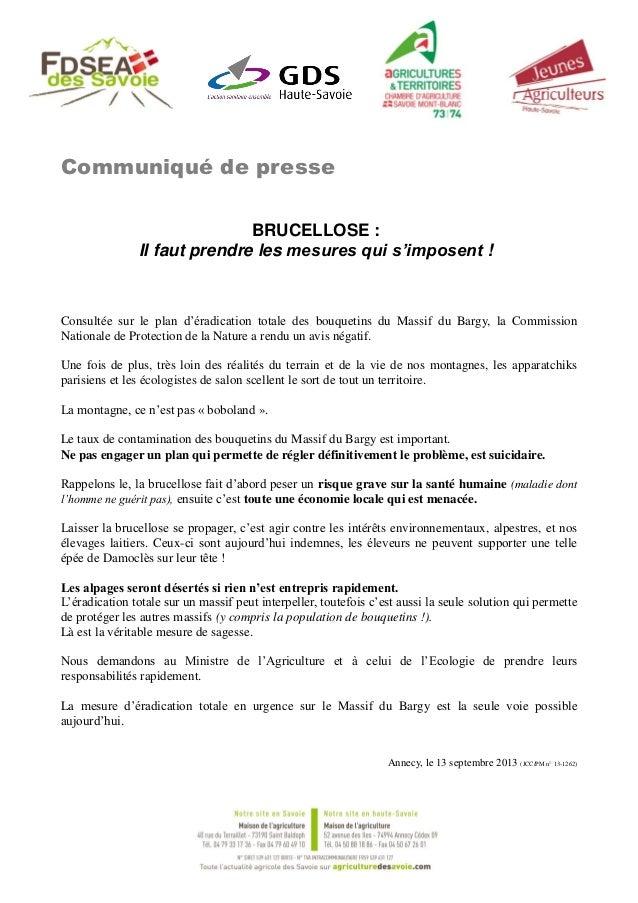 Communiqué de presse BRUCELLOSE : Il faut prendre les mesures qui s'imposent ! Consultée sur le plan d'éradication totale ...