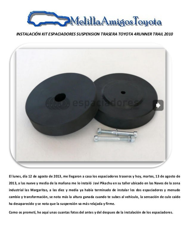 13.08.2013. kit de espaciadores suspension trasera del toyota 4 runner trail 2010