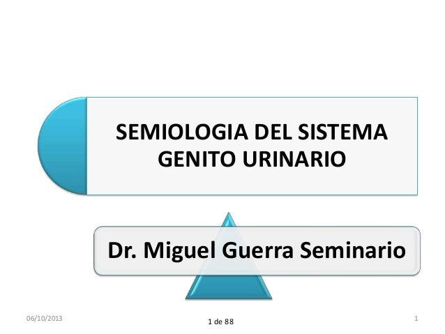 Dr. Miguel Guerra Seminario SEMIOLOGIA DEL SISTEMA GENITO URINARIO 06/10/2013 11 de 88