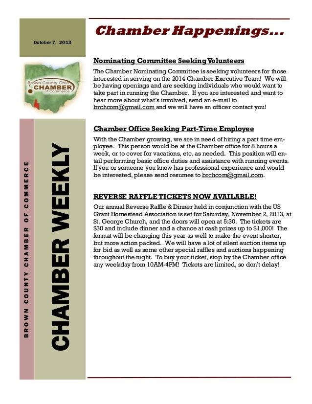 CHAMBERWEEKLY BROWNCOUNTYCHAMBEROFCOMMERCE October 7, 2013 Chamber Happenings... Nominating Committee SeekingVolunteers Th...