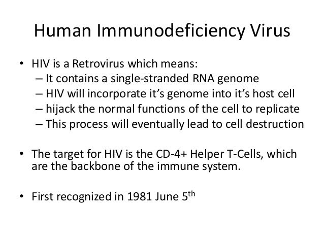 Human Immunodeficiency Virus • HIV is a Retrovirus which means: – It contains a single-stranded RNA genome – HIV will inco...