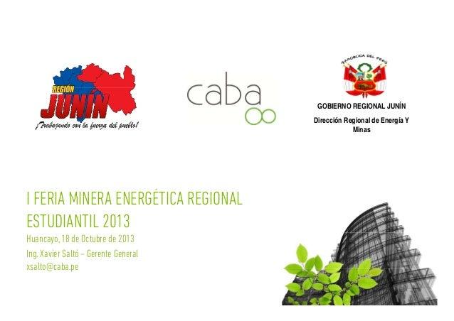 GOBIERNO REGIONAL JUNÍN g g Dirección Regional de Energía Y Minas  I FERIA MINERA ENERGÉTICA REGIONAL ESTUDIANTIL 2013 Hua...