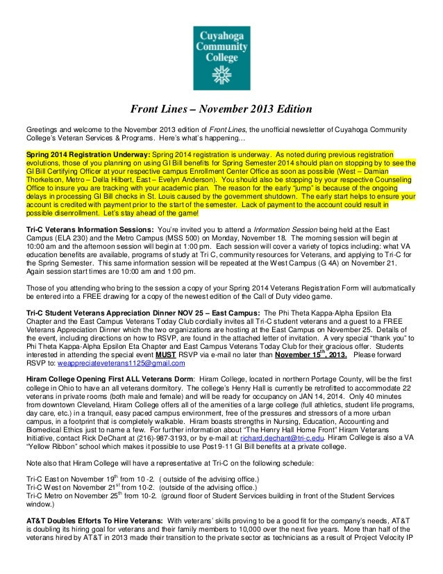 Front Lines – November 2013 Edition Greetings and welcome to the November 2013 edition of Front Lines, the unofficial news...