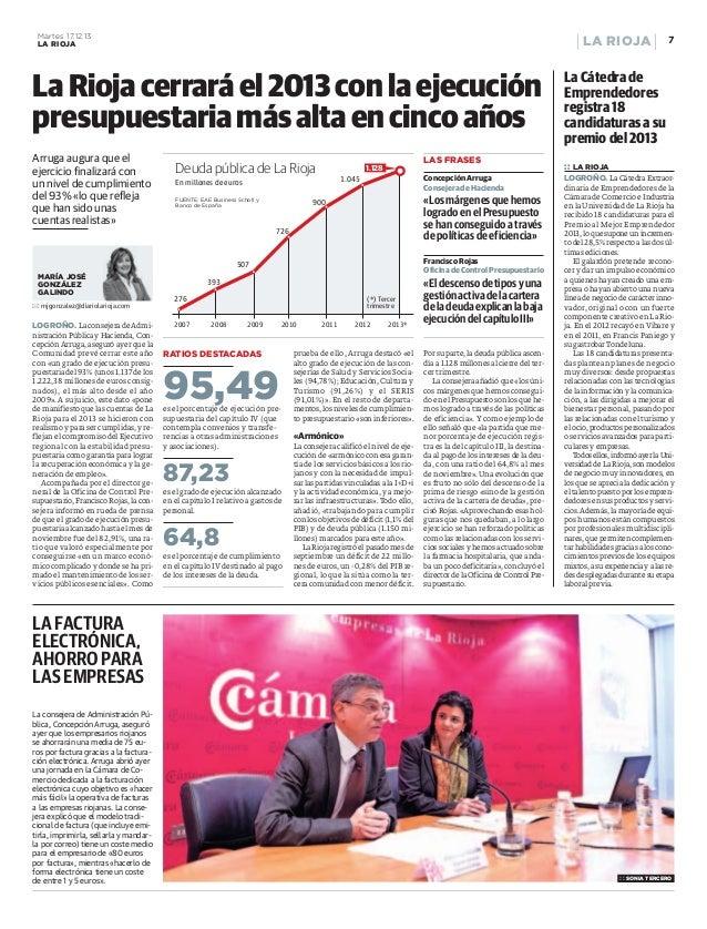 La ejecución presupuestaria más alta en cinco años (La Rioja)