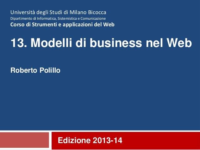 13. Modelli di business nel Web