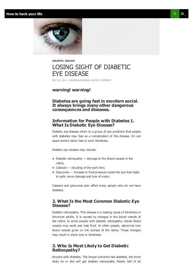 LOSING SIGHT OF DIABETIC EYE DISEASE