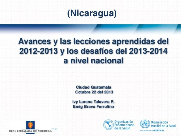 Título de la presentación| 20131 | Avances y las lecciones aprendidas del 2012-2013 y los desafíos del 2013-2014 a nivel n...