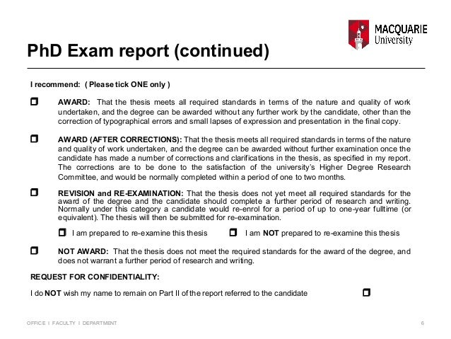 Doctoral thesis examination report