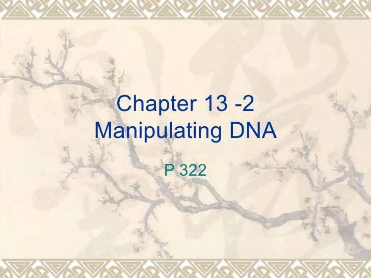 Chapter 13 -2Manipulating DNA      P 322