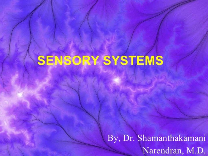 SENSORY SYSTEMS   By, Dr. Shamanthakamani Narendran, M.D.