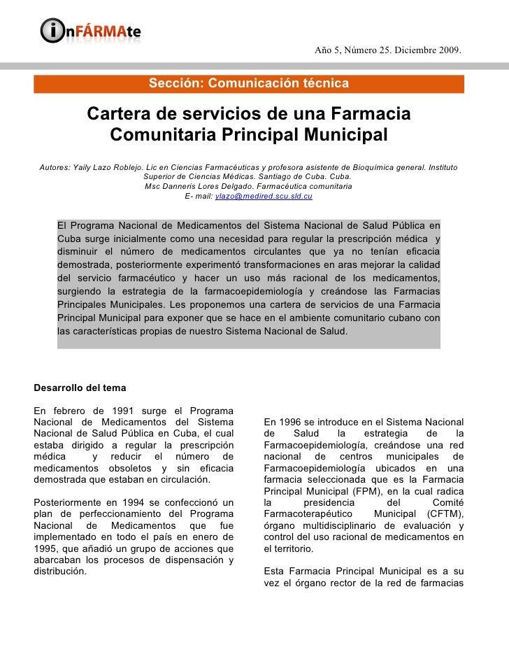 Año 5, Número 25. Diciembre 2009.                                 Sección: Comunicación técnica               Cartera de s...