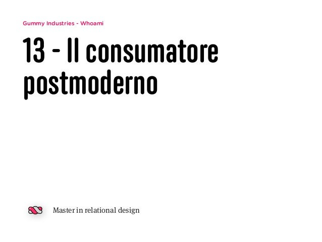 Gummy Industries - Whoami 13 - Il consumatore postmoderno Master in relational design