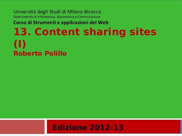 13. Content sharing sites (i)