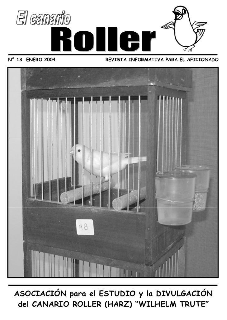Nº 13 ENERO 2004     REVISTA INFORMATIVA PARA EL AFICIONADO  ASOCIACIÓN para el ESTUDIO y la DIVULGACIÓN   del CANARIO ROL...