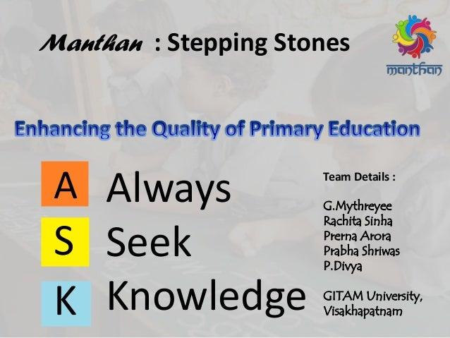 Team Details : G.Mythreyee Rachita Sinha Prerna Arora Prabha Shriwas P.Divya GITAM University, Visakhapatnam A S K Always ...