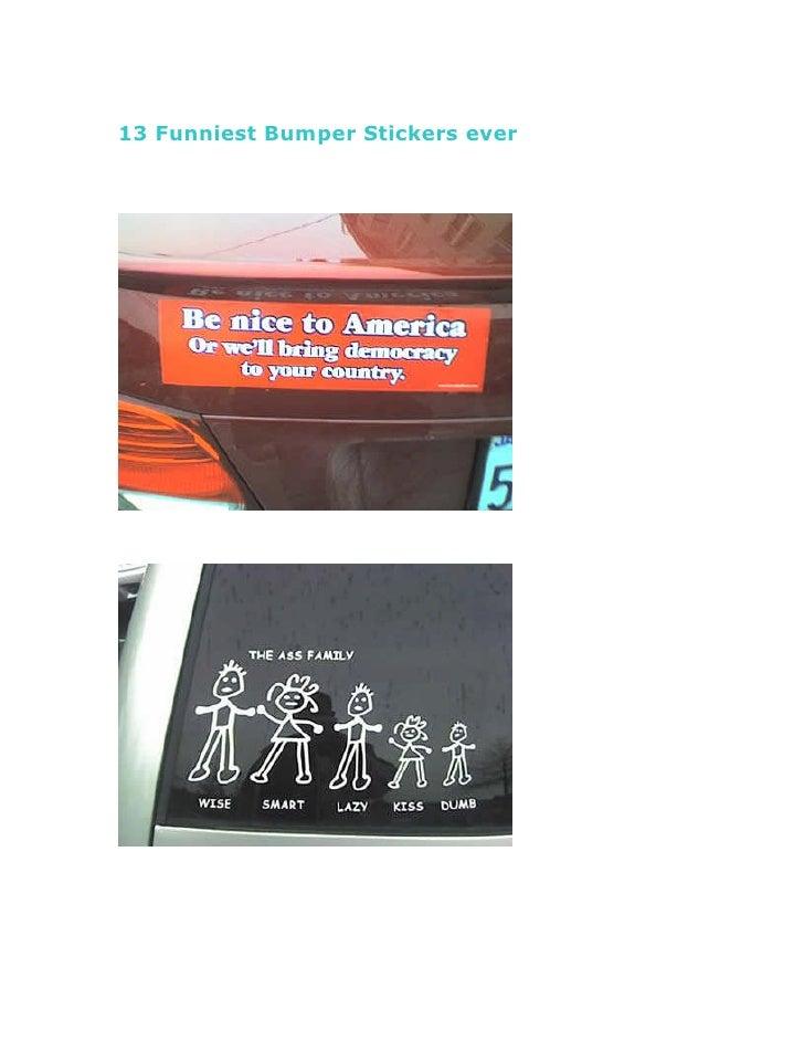 13 Funniest Bumper Stickers ever