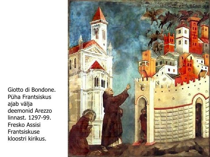 Giotto di Bondone. Püha Frantsiskus ajab välja deemonid Arezzo linnast. 1297-99. Fresko Assisi Frantsiskuse kloostri kirik...