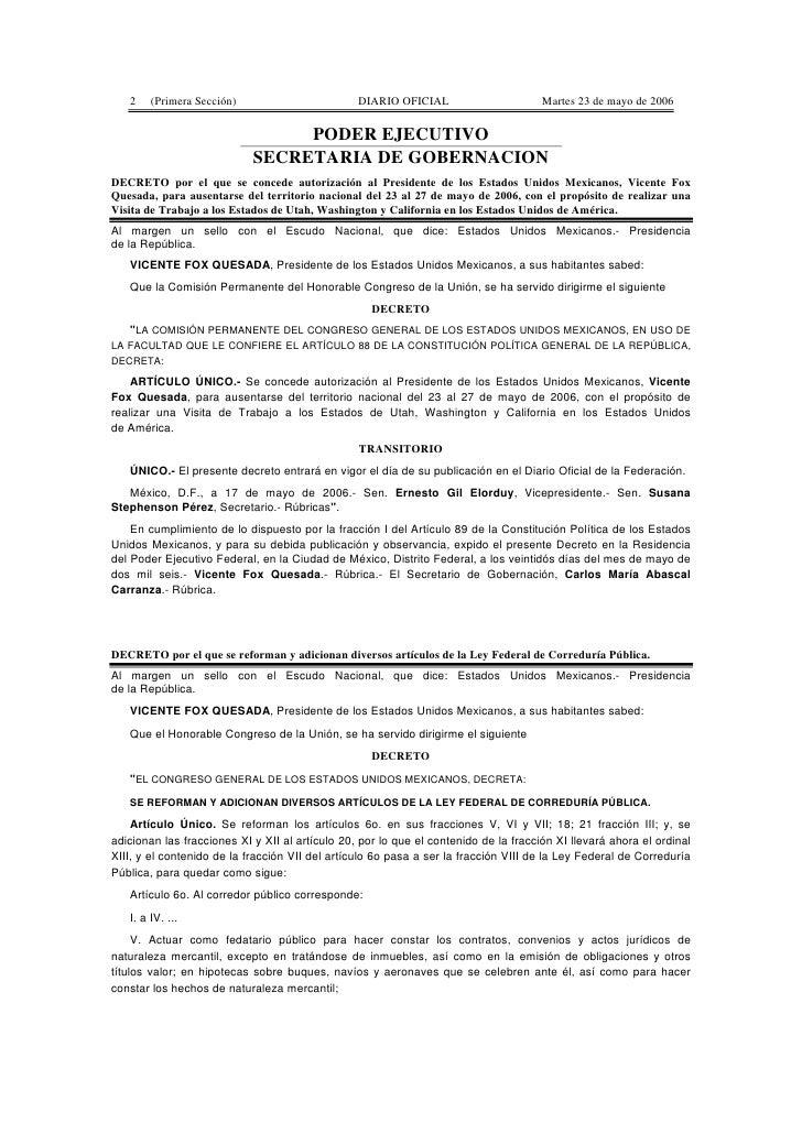 2    (Primera Sección)                        DIARIO OFICIAL                       Martes 23 de mayo de 2006              ...