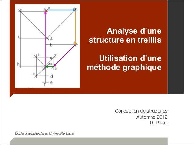 Analyse d'une  structure en treillis  Utilisation d'une  méthode graphique  Conception de structures  Automne 2012  R. Ple...