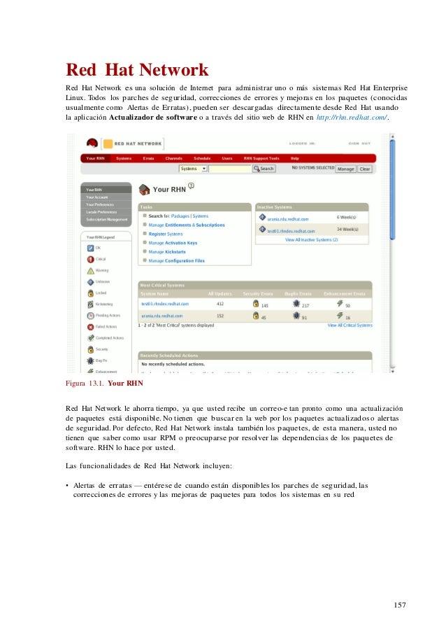 157 Red Hat Network Red Hat Network es una solución de Internet para administrar uno o más sistemas Red Hat Enterprise Lin...