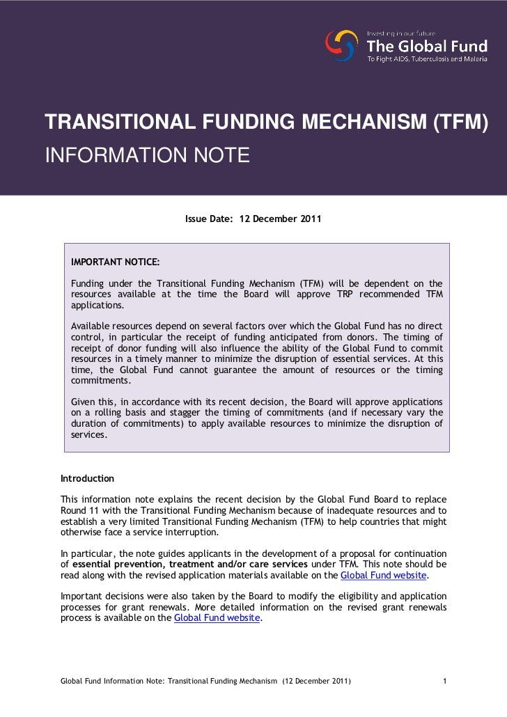 TRANSITIONAL FUNDING MECHANISM (TFM)INFORMATION NOTE                                  Issue Date: 12 December 2011   IMPOR...