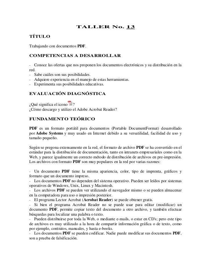 TALLER No. 13TÍTULOTrabajando con documentos PDF.COMPETENCIAS A DESARROLLAR-  Conoce las ofertas que nos proponen los docu...