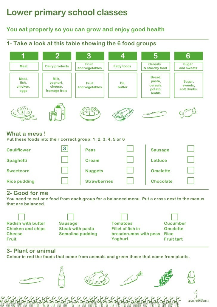 Instructional sheets (6-9y) - Lower Primary School - Louis Bonduelle Foundation