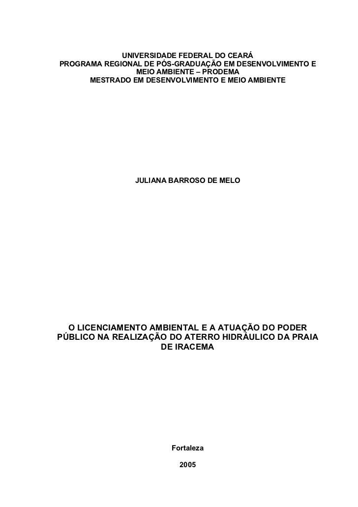 O Licenciamento Ambiental e a Atuação do Poder Público na Realização do Aterro Hidráulico da Praia de Iracema