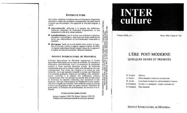 130 l'ère postmoderne. quelques signes et priorités. r. vachon, a. nandy, w. sachs, r. panikkar. (document à téléchar...
