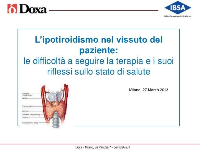 DOXA: Indagine sui pazienti con ipotiroidismo