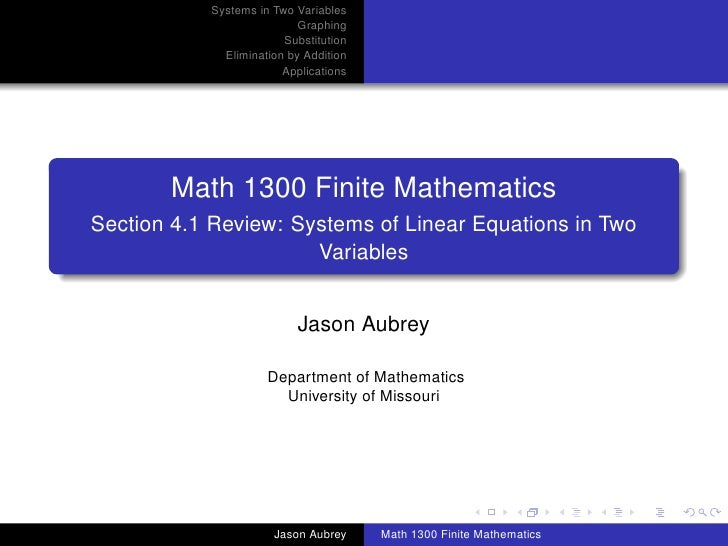 Systems in Two Variables                            Graphing                         Substitution              Elimination...