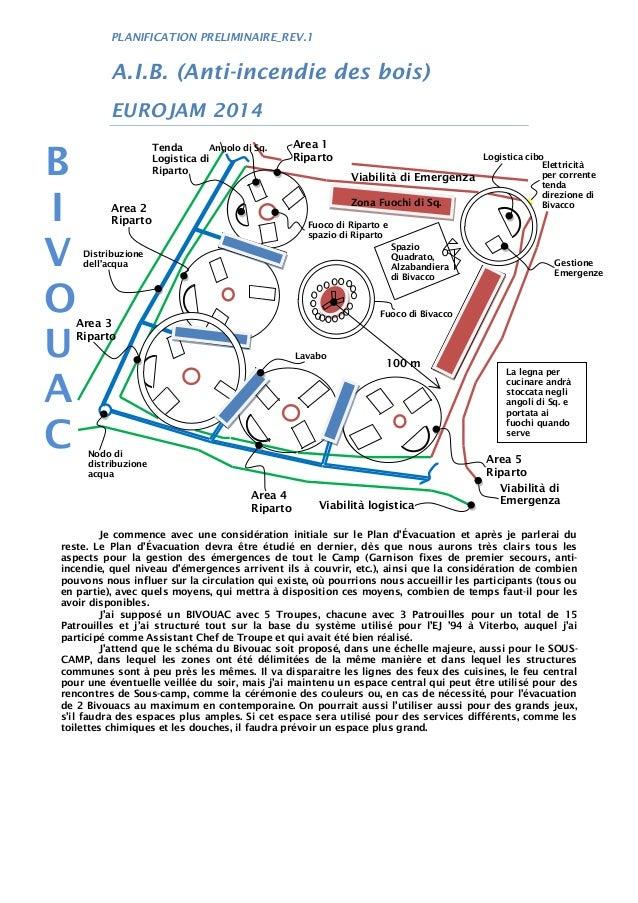 PLANIFICATION PRELIMINAIRE_REV.1 A.I.B. (Anti-incendie des bois) EUROJAM 2014 Je commence avec une considération initiale ...