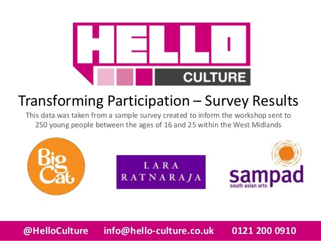 Transforming Participation – Survey Results This data was taken from a sample survey created to inform the workshop sent t...