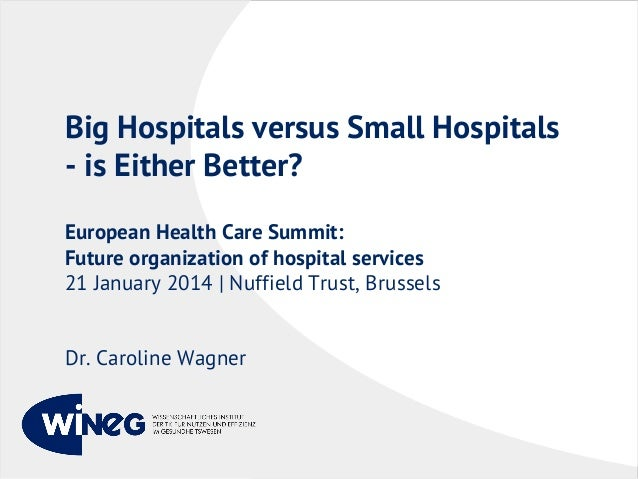 Big Hospitals versus Small Hospitals - is Either Better? European Health Care Summit: Future organization of hospital serv...