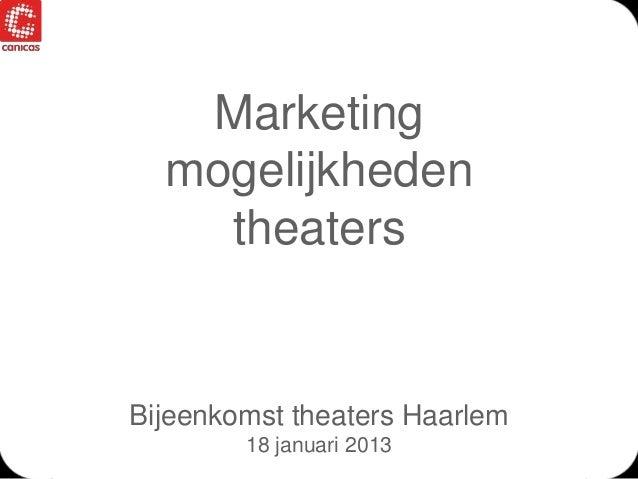 Marketing  mogelijkheden  theaters  Bijeenkomst theaters Haarlem  18 januari 2013