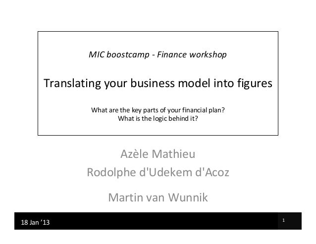 MIC boostcamp - Finance workshop         Translating your business model into figures                  What are the key pa...